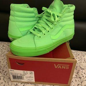 Neon green sk8 Hi Vans